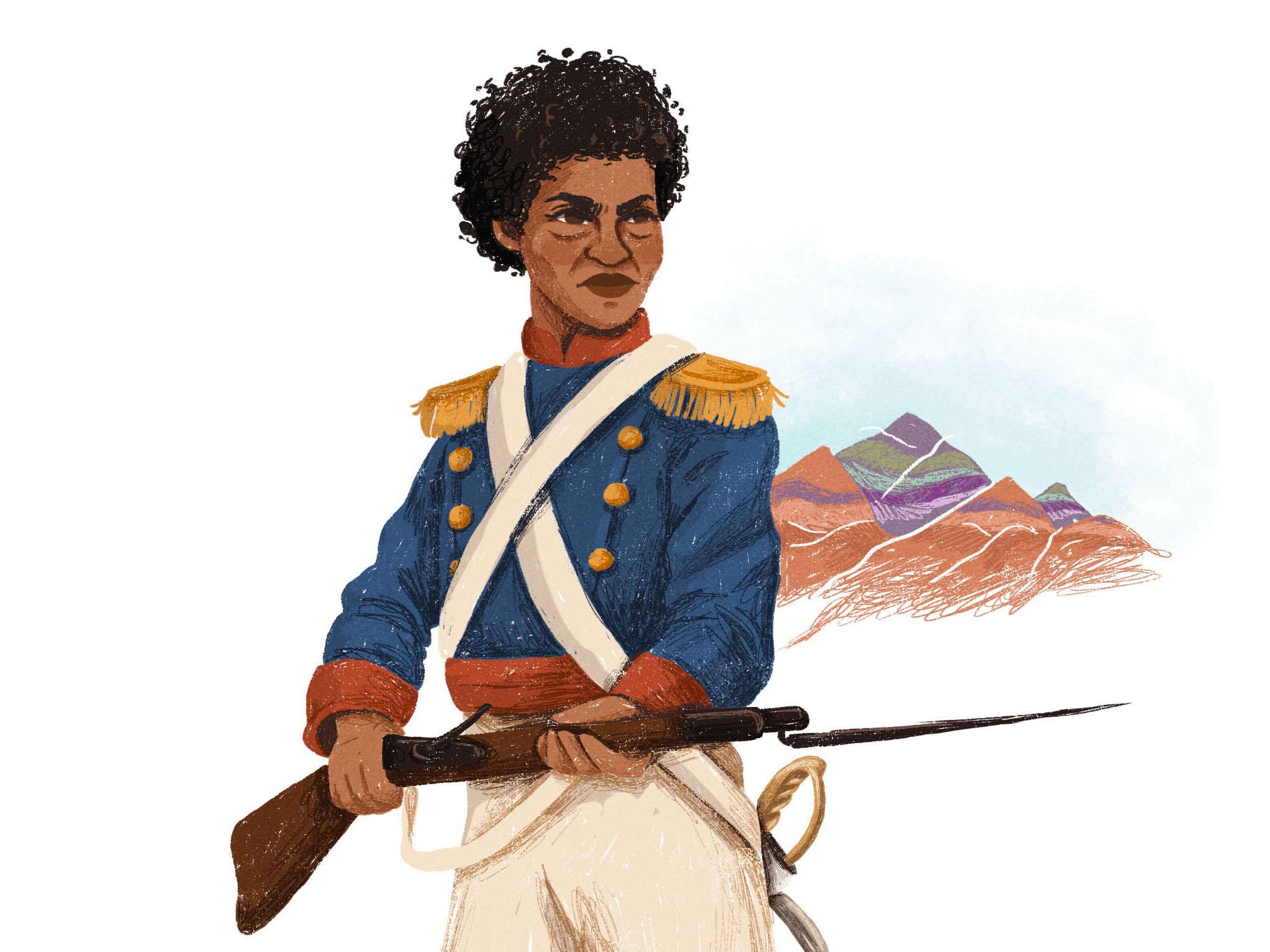 María Remedios del Valle ilustrada por Aymará Mont para Grandes Mujeres Latinoamericanas